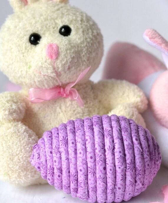 Violet Easter Egg, Handmade Easter Decoration, Floral Easter Egg, Cute Easter Basket Filler, Easter Egg Hunt Egg, Hand Coiled Fabric Egg