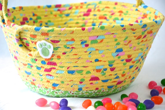 Yellow Easter Basket, Handmade Easter Bucket, Cute Toy Storage Bin, Fabric Quilted Basket, Crayon Holder, Fun Easter Egg Hunt Bag