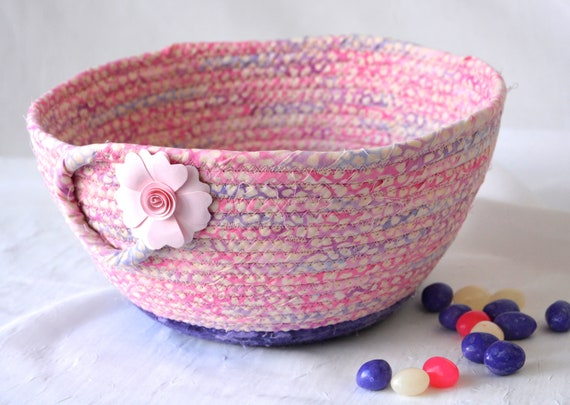 Pink Easter Basket, Spring Quilted Bowl, Handmade Pink Soft Pottery Basket, Decorative Coiled Art Bowl, Napkin Holder Basket