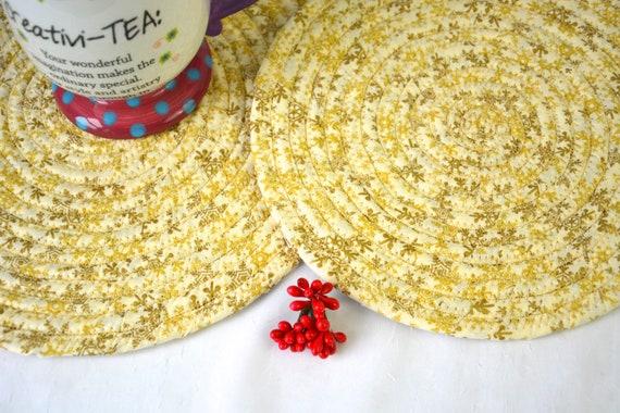 Snowflake Christmas Decor, Golden Holiday Trivet Set, 2 Handmade Christmas Hot Pads, Place Mats, Gold Holiday Potholders, Decoration