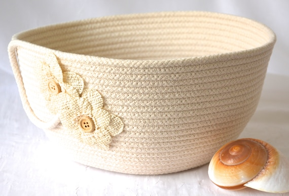 Neutral Home Decor, Handmade Farmhouse Quilted Basket, Country Clothesline Basket, Burlap Flower Bowl,  Minimalist Natural Rope Bowl