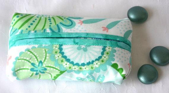 Kleenex Pocket Tissue Holder, Handmade Travel Tissue Case, Lovely Aqua Case, Basket Filler, Purse Pouch, Girlfriend Gift