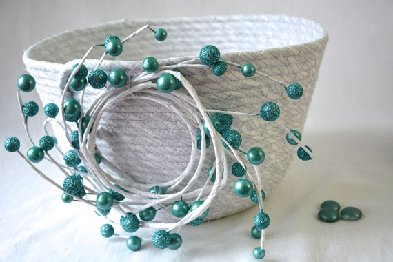 Christmas Teal Basket, Handmade Quilted Bowl, Silver on White Basket, Lovely Fruit Bowl,  Napkin Holder, hand coiled basket