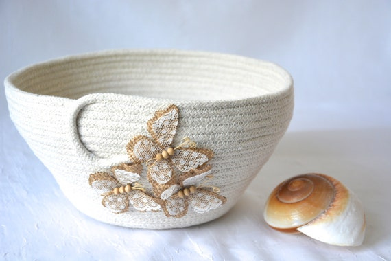Butterfly Home Decor, Handmade Quilted Rope Basket, Country Clothesline Bowl,  Farmhouse Beige Tissue Basket, Minimalist Natural Rope Bowl