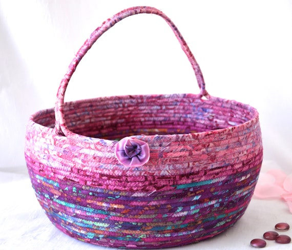 Mauve Bolga Basket, Pink Storage Container, Handmade Textile Art Basket, Designer Rope Basket with handle, Country Chic Batik Bin