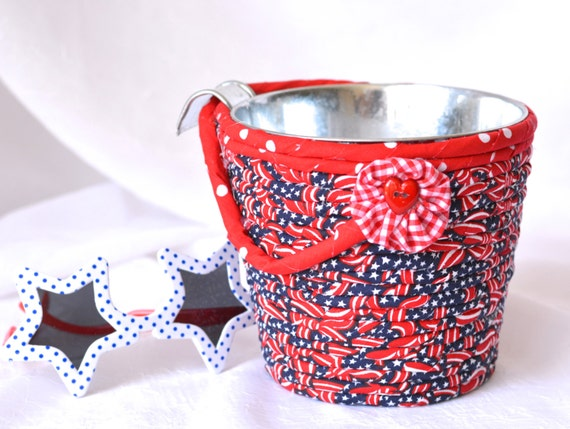Ice Cream Utensil Holder, Red White and Blue Party Container, Patriotic Decoration, BBQ Picnic Basket, July 4th Home Patio Decor