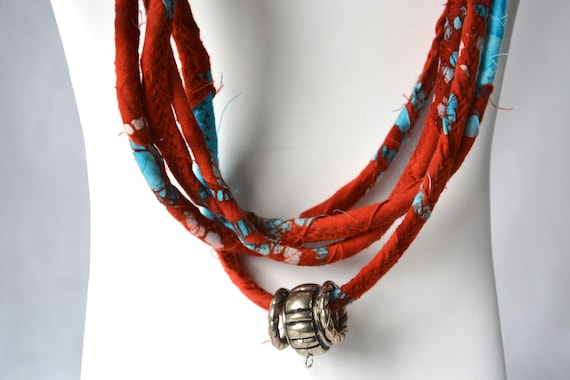 Rustic Red Necklace, Infinity Batik Turquoise Necklace, Handmade Boho Fabric Scarf, Modern Women Fashion Jewelry