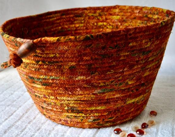 Fall Batik Basket, Paper Recycle Bin, Handmade Fabric Basket, Yarn Holder, Office Waste Basket, Blanket Bin, Scarf Holder, Sweater Bin
