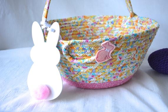 Baby Easter Basket, Handmade Easter Bucket, Cute Easter Egg Hunt Bag Tote,  Spring Pink Decoration, Easter Decor, Free Girl Name Tag