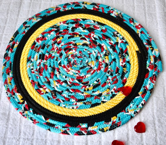 """Serpa Place Mat, 1 Handmade Turquoise Trivet, 12"""" Quilted Hot pad, Blue Table Topper, Black Table Runner, Coiled Potholder"""