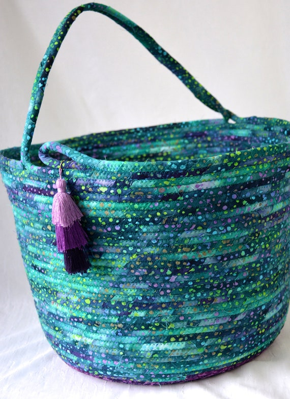 Blue Green Basket with handle, Unique Fabric Art Vessel, Teal Storage Container, Handmade Handled Batik Basket, Boho Chic Fabric Bin