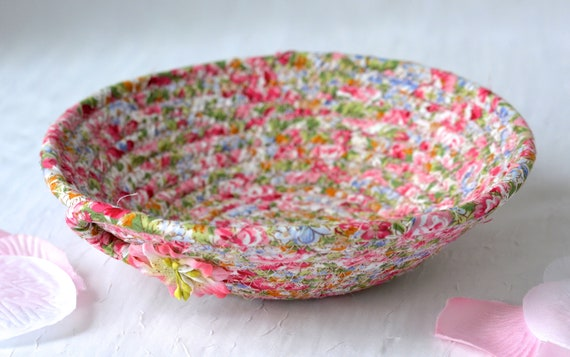 Floral Garden Basket, Handmade Pink Bowl, Ring Dish, Cute Desk Accessory, English Garden Gift Basket, Party Favor, Stocking Stuffer