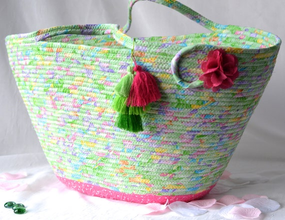 Green Tote Bag, Handmade Quilted Basket, Decorative Spring Mint Glitter Basket, Laptop Case, Handled Basket, Baby Shower Gift