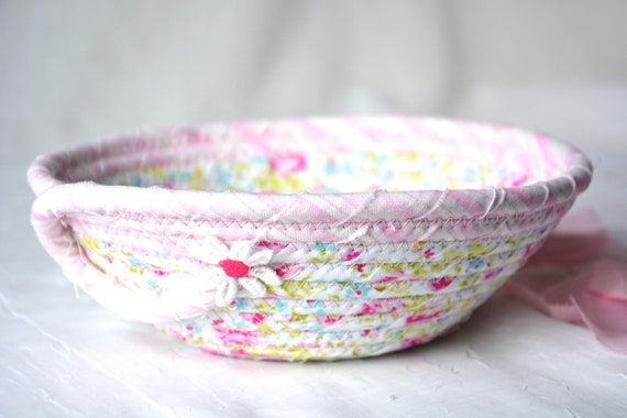 Mother's Day Gift, Pink Ring Dish Tray, Handmade Cute Potpourri Basket, Shabby Chic Key Holder, Shabby Chic Pink Basket