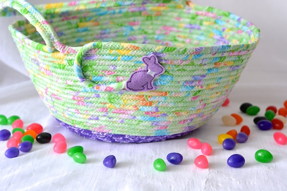 Girl Easter Basket, Handmade Quilted Easter Bucket, Easter Decoration, Flower Girl Basket, Girl Room Decor, Whimsical Creature decor