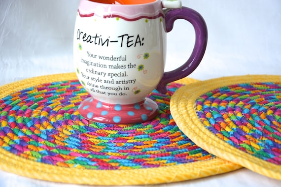 Easter Place Mats, 2 Fabric Trivets, 2 Handmade Hot Pads, Mug Rugs, Rainbow Home Decor, Table Mats, Potholders, Table Toppers, Runners