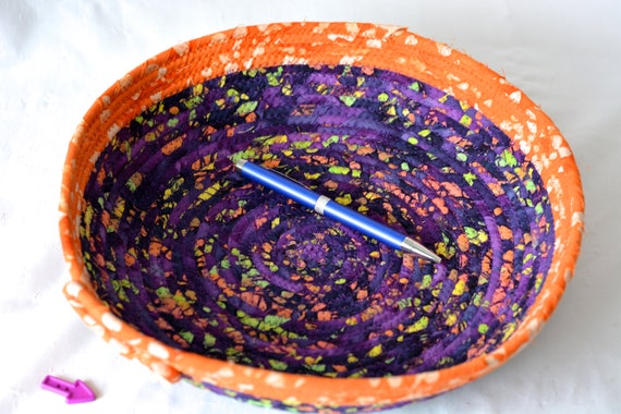 Halloween Candy Bowl, Fall Boho Decor Basket, Handmade Fruit Bowl, Purple and Orange Batik Basket, Bread Basket, Mail Bin, Napkin Holder