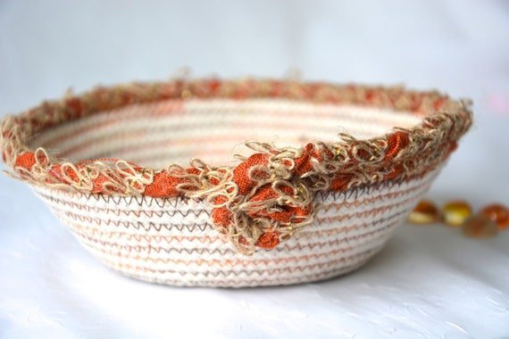 Burlap Rope Bowl, Handmade Minimalist Basket, Fall Cord Basket, Natural Line Candy Dish, Farmhouse Chic Ring Dish, Desk Accessory