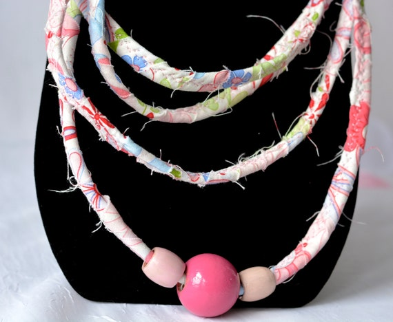 Spring Women Necklace, Pink Infinity Necklace, Handmade Wrap Fiber Jewelry, Skinny Multi Strand Necklace, Trendy Fabric Jewelry