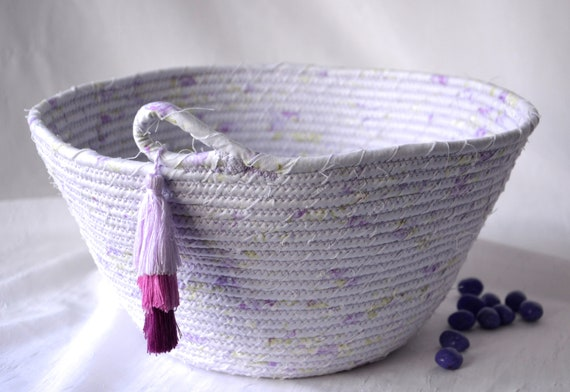 Lavender Tassel Basket, Handmade Spring Bowl, Lovely Violet Bathroom Decor, Unique Towel Organizer, Mail Holder, Bread Basket