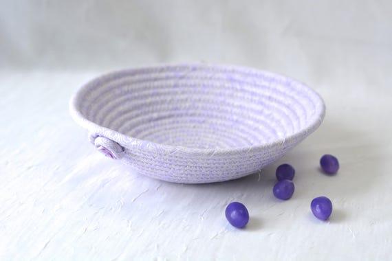Violet Fabric Basket, Handmade Lavender Bowl, Cute Ring Dish, Desk Accessory Basket, Violet Pantone Artisan Quilted Bowl