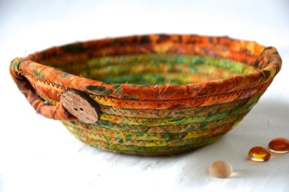 Country Batik Basket, Fall Bowl, Handmade Key Bowl, Wallet Holder, Quilted Rope Basket, Boho Chic Fabric Bowl, Coin Change Bowl