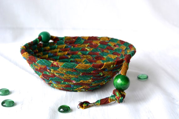 Green Home Decor Basket, Handmade Ring Dish Tray, Rustic Key Catchall Bowl, Jewelry Catcher, Mexican Fiber Bowl, Artisan Coiled Bowl
