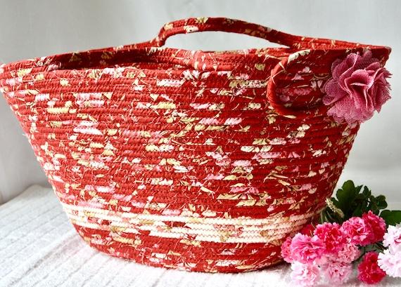 Summer Picnic Basket, Soft Red Tote Bag, Shabby Chic Floral Basket, Beach Bag, Handmade Wine Caddy, Bathroom Paper Holder