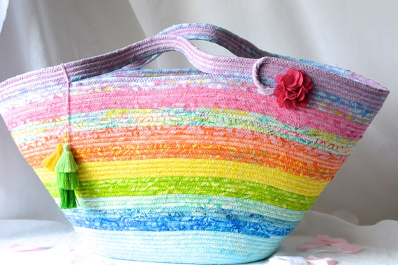 Textile Art Basket, Handmade Batik Tote Bag, Rainbow Fiber Art Handbag, Gorgeous Rainbow Fabric Purse, Unique Baby Hamper Basket