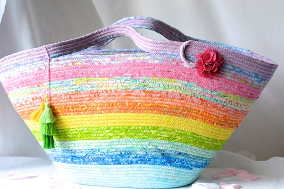 Textile Art Basket, Handmade Batik Tote Bag, Rainbow Fiber Art Handbag, Gorgeous Rainbow Fabric Purse, Unique Summer Beach Bag