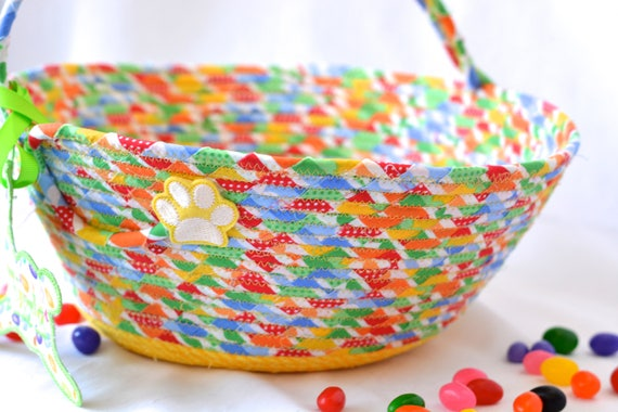 Yellow Easter Basket Handled, Handmade Baby Diaper Holder, Boy Easter Bucket, Cute Nursery Decoration, Baby Toy Organizer