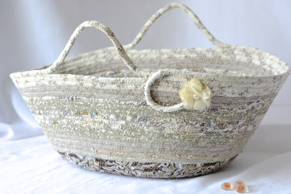 Shabby Chic Basket, Handmade Gift Basket, Neutral Home Decor, Cream Beige Storage Basket, Decorative Coiled Rope Basket