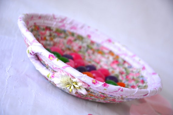 Spring Desk Accessory, Handmade Pink Basket, Artisan Quilted Floral Basket, Pink Ring Dish, Cute Potpourri Dish, Quilted Bowl Home Decor