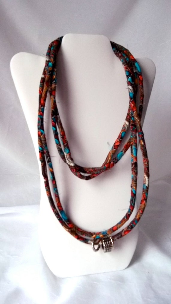 Rope Infinity Necklace, Fall Fabric Necklace, Handmade Fabric Scarf, Rust100, Modern Skinny Fabric Jewelry, Artisan Quilted Corded Necklace