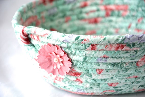 Pastel Green Basket, Mint Potpourri Holder, Key Holder Dish, Shabby Chic Floral Basket, Handmade Napkin Basket, Fruit Bowl