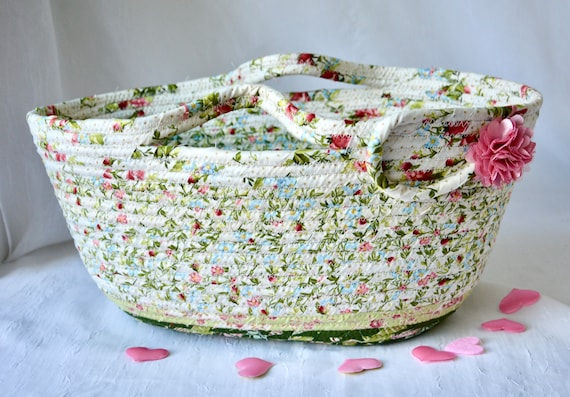 Shabby Chic Basket, Pretty Tote Bag, Lovely Floral Handled Basket, Knitting Project Bag, Handmade Handbag, Bathroom Paper Holder