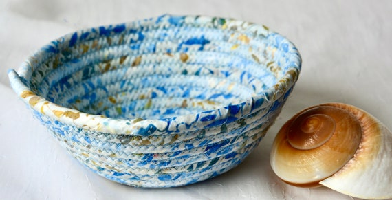 Blue Batik Basket, 1 Handmade Boho Coiled Bowl, Cute Candy Dish, Cottage Chic Fabric Bowl, Key Change Bowl, Bling Ring Dish