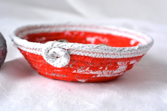 Red Candy Dish, Handmade Christmas Decoration, Cute Coiled Rope Bowl, Decorative Red and Silver Basket, Holiday Ring Dish Tray