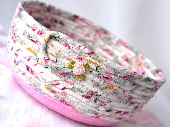 English Garden Basket, Handmade Shabby Chic Bowl, Floral Bath Basket, Makeup Organizer, Girls Room Decor, Pink coiled fabric basket