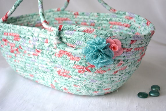 Pretty Handled Basket, Sweet Pastel Tote Bag, Shabby Chic Floral Basket, Knitting Project Bag, Handmade Handbag, Fruit Bowl