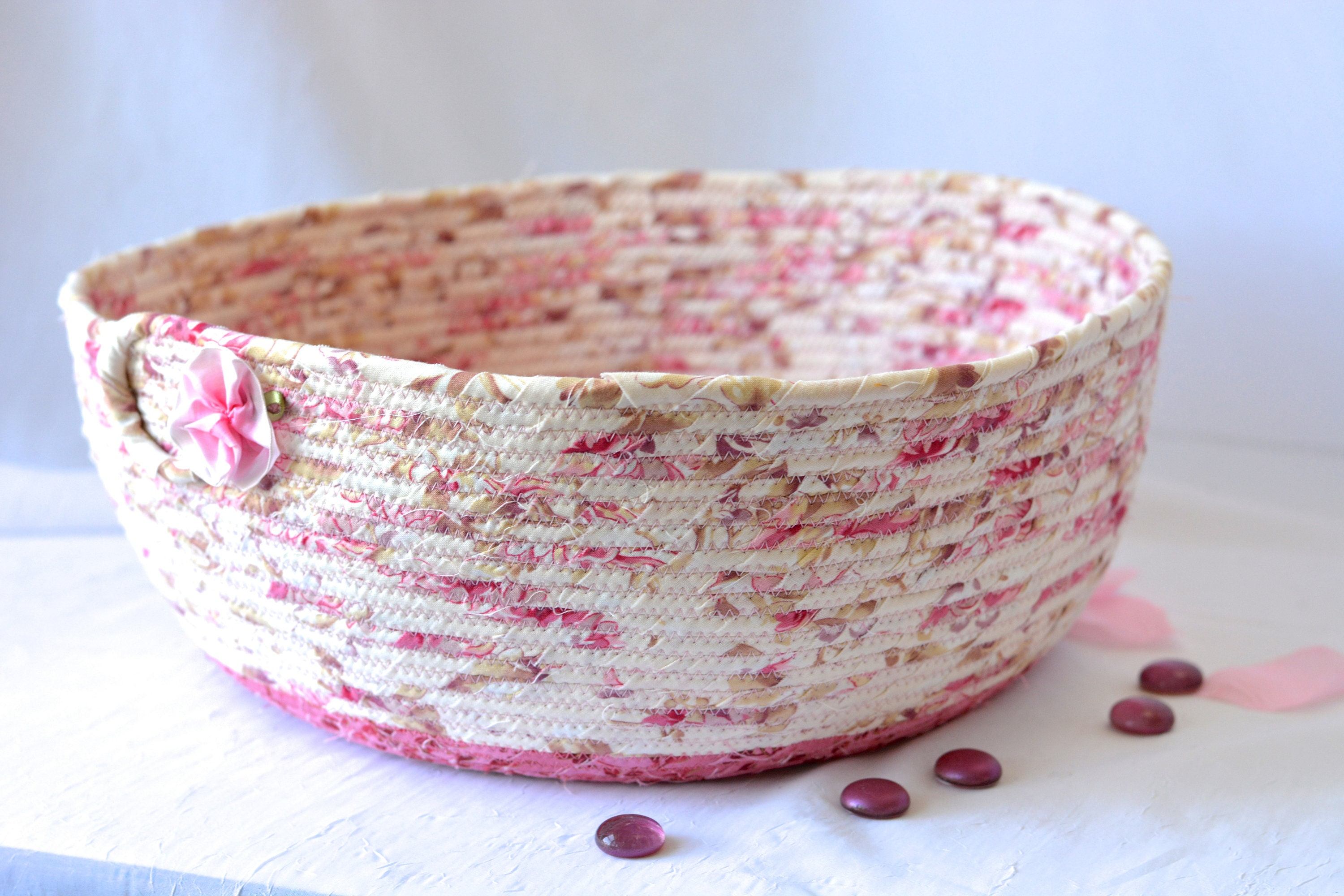 Shabby Chic Basket Handmade Coiled Rope Pretty Mauve