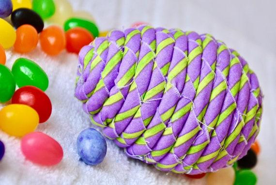 Fun Easter Egg, 1 Ornament, Handmade Lilac Easter Egg Decoration, Lavender Fabric Egg, Easter Egg Hunt, Hand Coiled Fiber Easter Egg