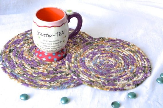 Ivory Violet Trivets, 2 Handmade Violet Fabric Hot Pads, Lavender Mug Rugs, Lovely Lilac Table Toppers, Purple Potholders
