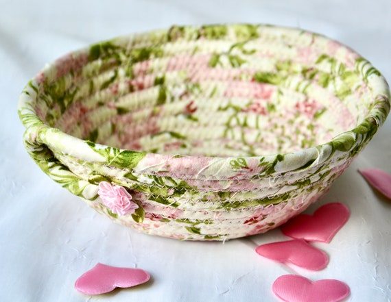 Shabby Chic Basket, Handmade Pink Bowl, Cute Desk Accessory, English Garden Decor, Ring Dish, Dresser Key Tray, Potpourri Bowl