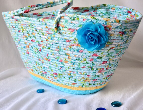 Blue Tote Bag, Handmade Fabric Handbag, Beautiful Coiled Rope Basket, Computer Case, Handled Tote Bag, Storage Organizer, Yarn Holder