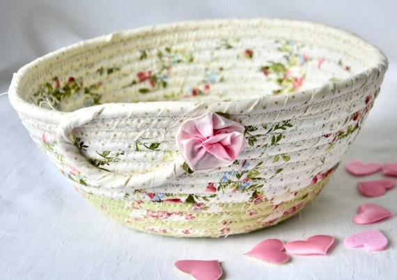 Summer Floral Basket, Handmade Shabby Chic Bowl, Pretty Bath Basket, Brush Holder, Girls Room Decor, Pink coiled fabric basket