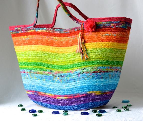 Quilted Batik Basket, Handmade Fiber Art Basket,  Rainbow Batik Tote Bag, Laptop Case, Unique Gift Basket, Coiled Moses Basket