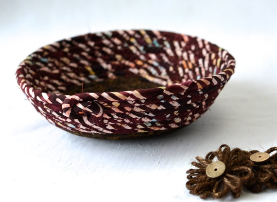 Father's Day Gift, Rustic Country Key Bowl, Handmade Earth Tone Potpourri Basket, Batik Home Decor, Red Wine Change Coin Bowl, Quilted