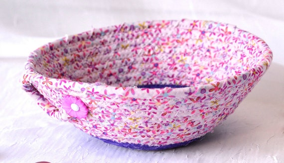 Pink Candy Dish, Handmade Violet Basket, Fabric Quilted Basket, Pink Floral Ring Bowl, Purple and Pink Bowl Home Decor