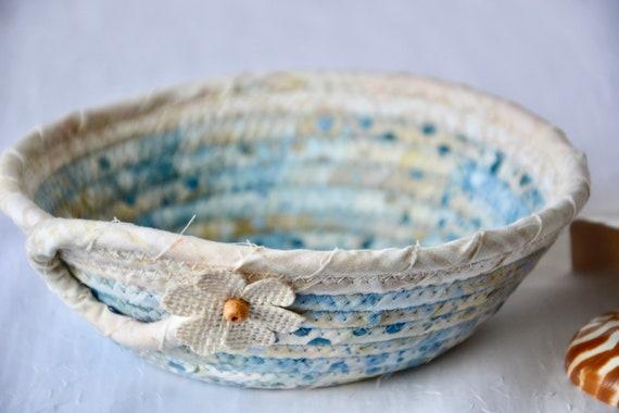 Boho Batik Basket, Handmade Blue Key Bowl, Candy Dish, Indigo Fabric Basket, Cottage Chic Decor Bowl, Coin Change Bowl